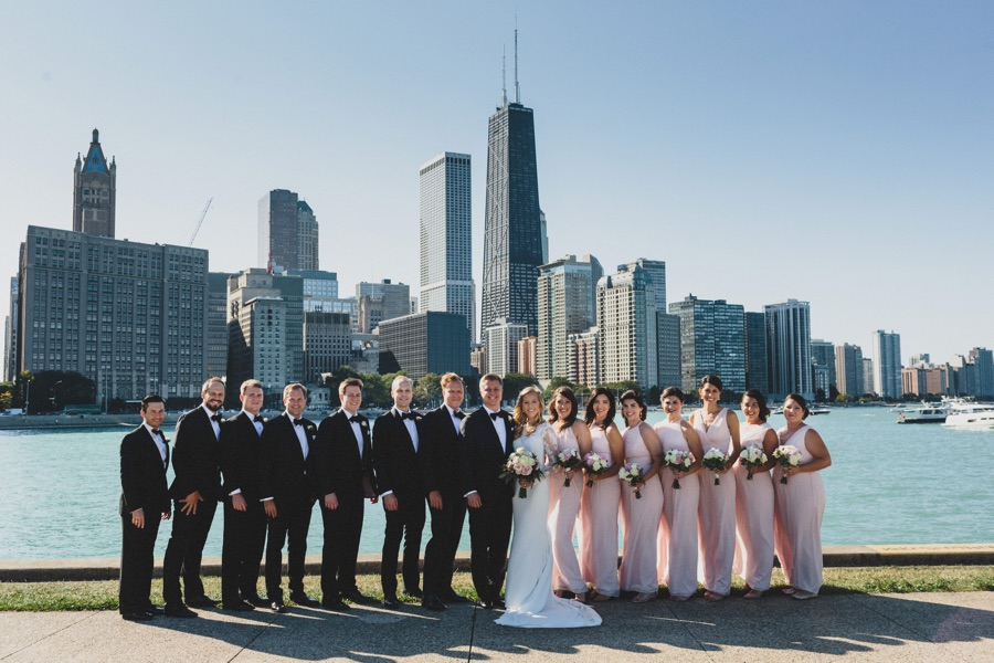 Wedding Party with Downtown Chicago Backdrop